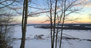 покрытое Снег река в России Стоковое Изображение RF