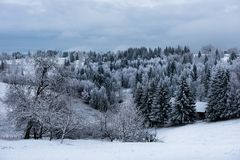 покрытые валы снежка гор горы дома hoarfrost Стоковое фото RF