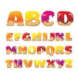 Покрытые установленные письма алфавита вафель сладостные бесплатная иллюстрация