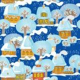 покрытый городок снежка Стоковое фото RF