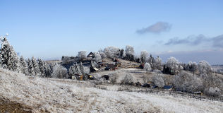 Покрытый изморозью ландшафт горы стоковое изображение