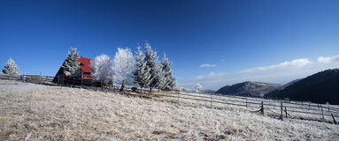Покрытый изморозью ландшафт горы стоковые изображения rf