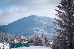 покрытый Снег ландшафт горы Стоковое фото RF