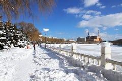 покрытый Снег ландшафт реки Mudanjiang Стоковое Изображение RF