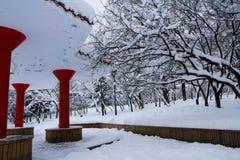 покрытый Снег ландшафт Beishan Montain Стоковое фото RF