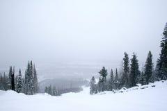 покрытый снежок горных склонов Стоковое Изображение RF