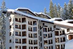 покрытый снежок дома Покрытый с снегом, вися сосульки льда Стоковые Изображения RF