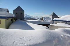 покрытый снежок крыш стоковое фото