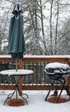 покрытый снежок палубы стоковое изображение rf