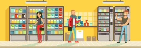 Покупатели делая приобретение в супермаркете, витринах магазина с пить, вектором дизайна интерьера супермаркета горизонтальным иллюстрация штока