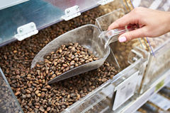 Покупатель с ветроуловителем принимает гайки сосны в магазине стоковое изображение rf