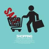 Покупатель с символом магазинной тележкаи Стоковые Фото