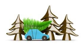 покупать рождественскую елку с голубым автомобилем стоковые изображения