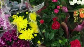 Покупая цветок внутри супермаркета Много пуков красного, пинк, желтые цветки в магазине цветков Серия пестротканых букетов сток-видео