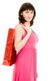 покупка девушки платья красная Стоковые Изображения RF