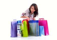 покупка девушки счастливая Стоковое Изображение