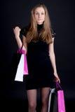 покупка девушки счастливая стоковые изображения rf