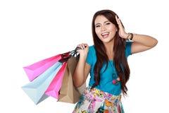 покупка девушки счастливая очень Стоковое Фото