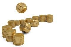 Покупка или надувательство dices и стога золотой монетки на белой предпосылке 3d il иллюстрация штока