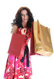 покупка красивейшей девушки мешка с волосами счастливая длинняя стоковая фотография rf