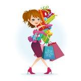 Покупка нося женщины иллюстрация вектора