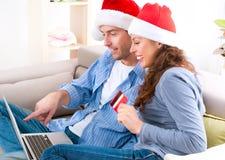 Покупка рождества он-лайн Стоковые Изображения RF