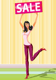 покупка сбывания девушок способа доски Стоковое Изображение RF