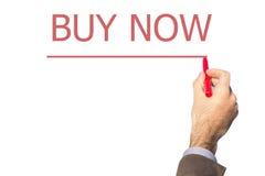 Покупка сочинительства руки бизнесмена теперь на прозрачной доске wipe Стоковые Фотографии RF