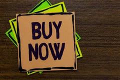 Покупка текста сочинительства слова теперь Концепция дела для спрашивать, что кто-то купило ваш продукт обеспечивает хорошие прим Стоковая Фотография RF