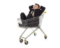 покупка тележки бизнесмена Стоковые Фото