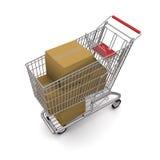 покупка тележки коробок Стоковое фото RF