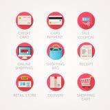 покупка установленная иконами Иллюстрации современной квартиры покрашенные Онлайн значки коммерции и розничного бизнеса родственн Стоковая Фотография RF