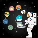 Покупки астронавта онлайн Стоковая Фотография