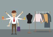 Покупки бизнесмена Multitasking в магазине одежд иллюстрация штока