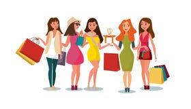 Покупки девушек концепции в магазине стиля иллюстрация вектора