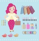Покупки женщины шаржа вектора Стоковые Изображения RF