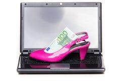 Покупки женщин онлайн - розовая пятка Стоковое Изображение