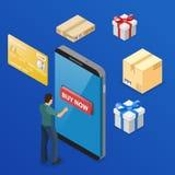 Покупки интернета и онлайн концепция оплат иллюстрация вектора