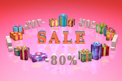 Покупки и день валентинок подарков (скидки, сбрасывая, %, проценты Стоковые Фотографии RF