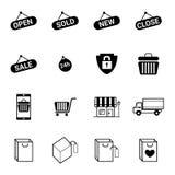 Покупки и иллюстрация вектора электронной коммерции установленная значками иллюстрация штока