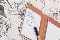Покупки и расходы перечисляют на банкнотах турецкой лиры Стоковое Изображение RF