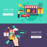 Покупки и электронная коммерция концепции онлайн иллюстрация вектора
