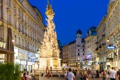Покупки ночи на улице Graben в вене Стоковое Фото
