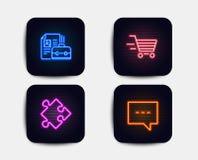 Покупки поставки, значки стратегии и вакансии Знак блога Онлайн приобретение, головоломка, работа рабочего места Сообщение болтов бесплатная иллюстрация