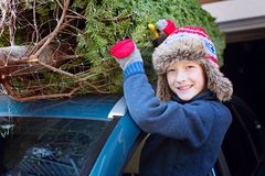 Покупки рождественской елки семьи стоковая фотография rf