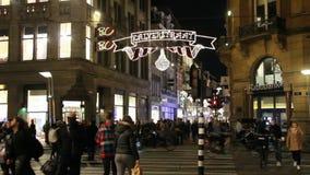 Покупки рождества в Амстердаме, Голландии видеоматериал