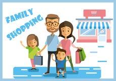 Покупки семьи выходных стоковые изображения