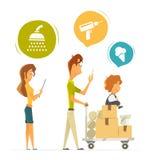 Покупки счастливой семьи покупая в магазине магазина домочадца оборудования иллюстрация штока