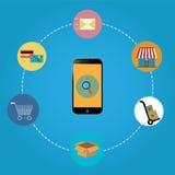 Покупки телефона онлайн Стоковое фото RF