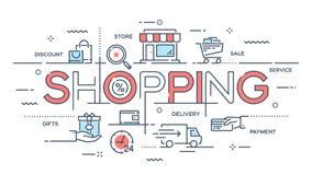 Покупки, электронная коммерция, розница, продажа, линия c обслуживания поставки тонкая иллюстрация штока